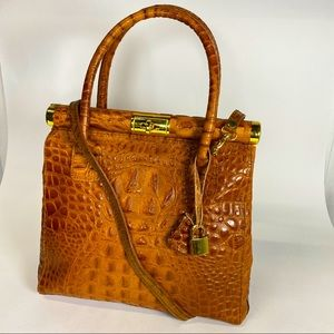 Borse In Pelle crocodile print brown leather tote